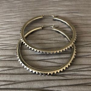 Very Stylish Large Silver Hoop Earrings